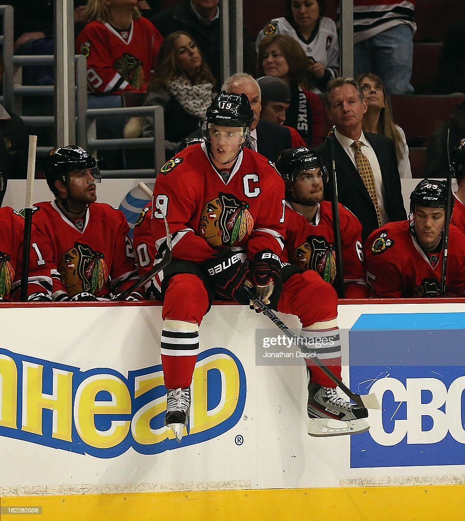 <a gi-track='captionPersonalityLinkClicked' href=/galleries/search?phrase=Jonathan+Toews&family=editorial&specificpeople=537799 ng-click='$event.stopPropagation()'>Jonathan Toews</a> #19 of the Chicago Blackhawks waits for a shootout to begin against the Vancouver Canucks at the United Center on February 19, 2013 in Chicago, Illinois. The Blackhawks defeated the Canucks 4-3 in a shootout.