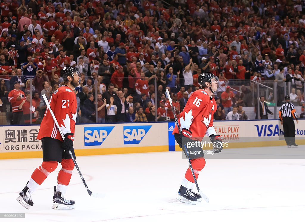 Jonathan Toews #16 skates to the bench with Alex Pietrangelo #27 of Team Canada after scoring a second period goal on Team Europe during the World Cup of Hockey 2016 at Air Canada Centre on September 21, 2016 in Toronto, Ontario, Canada.