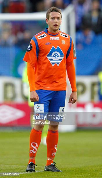 Jonathan Tollas of Aalesunds FK in action during the Norwegian Tippeligaen match between Molde FK and Aalesunds FK held on May 6 2012 at the Aker...