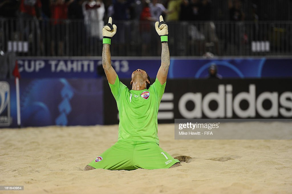 Jonathan Torohia of Tahiti celebrates at the final whistle during the FIFA Beach Soccer World Cup Tahiti 2013 Quarter Final match between Argentina and Tahiti at the Tahua To'ata Stadium on September 25, 2013 in Papeete, French Polynesia.