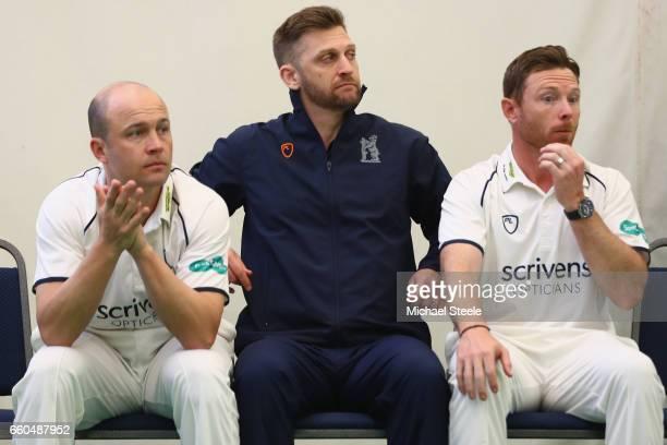 Jonathan Trott and Ian Bell of Warwickshire alongside Director of Cricket Jim Troughton during the Warwickshire County Cricket photocall at Edgbaston...