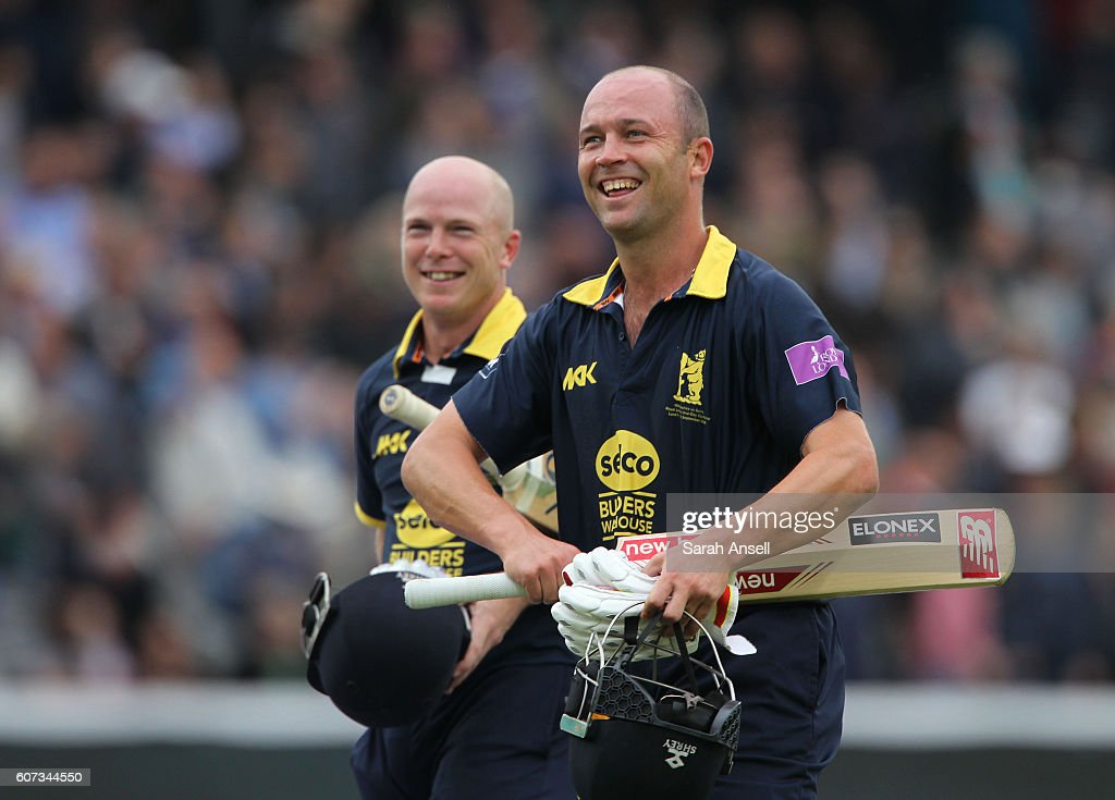 Jonathan Trott (R) and Tim Ambrose (L) of Warwickshire look delighted after seeing their side to victory during the Royal London One-Day Cup Final match between Surrey and Warwickshire at Lord's Cricket Ground on September 17, 2016 in London, England. (Photo by Sarah Ansell/Getty Images).