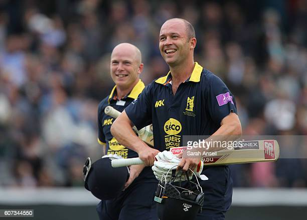 Jonathan Trott and Tim Ambrose of Warwickshire look delighted after seeing their side to victory during the Royal London OneDay Cup Final match...
