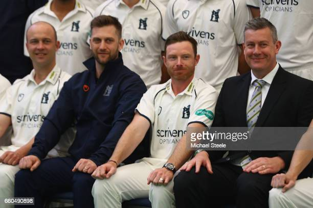 Jonathan Trott Jim Troughton the Director of Cricket Ian Bell captain and Ashley Giles the Sport Director during the Warwickshire County Cricket...