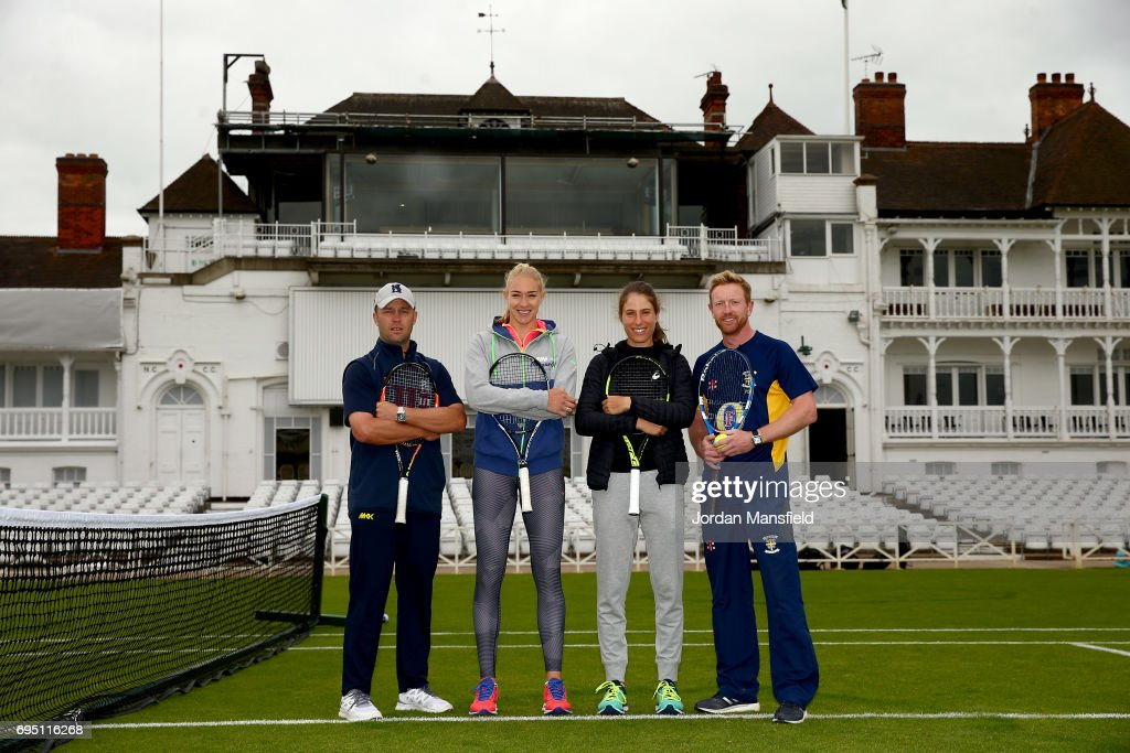 Jonathan Trott, Jocelyn Rae, Johanna Konta and Paul Collingwood pose for a photo during a Tennis Meets Cricket Event during the Aegon Open Nottingham at Trent Bridge on June 12, 2017 in Nottingham, England.