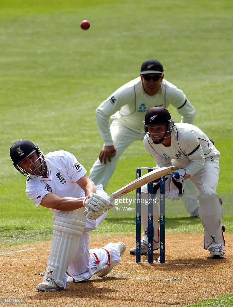 <a gi-track='captionPersonalityLinkClicked' href=/galleries/search?phrase=Jonathan+Trott&family=editorial&specificpeople=654505 ng-click='$event.stopPropagation()'>Jonathan Trott</a> of England bats during day two of the First Test match between New Zealand and England at University Oval on March 7, 2013 in Dunedin, New Zealand.