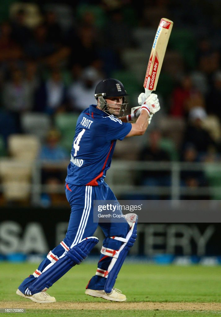 Jonathan Trott of England bats during the second match of the international Twenty20 series between New Zealand and England at McLean Park on February 20, 2013 in Napier, New Zealand.