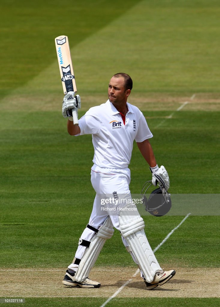 Jonathan Trott of England celebrates as he reaches his double century during day two of the 1st npower Test between England and Bangladesh at Lords on May 28, 2010 in London, England.