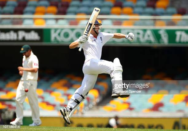 Jonathan Trott of England celebrates scoring a century during day five of the First Ashes Test match between Australia and England at The Gabba on...