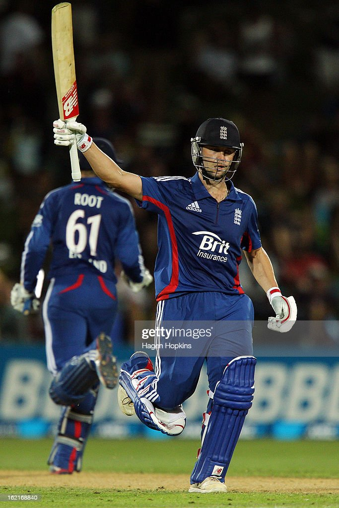 Jonathan Trott of England celebrates winning the match during the second match of the international Twenty20 series between New Zealand and England at McLean Park on February 20, 2013 in Napier, New Zealand.