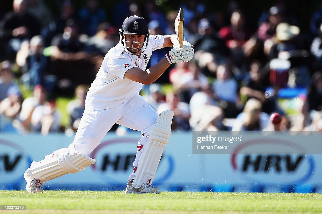 Jonathan Trott of England drives the ball away for four runs during day two of the First Test match between New Zealand and England at University Oval on March 7, 2013 in Dunedin, New Zealand.