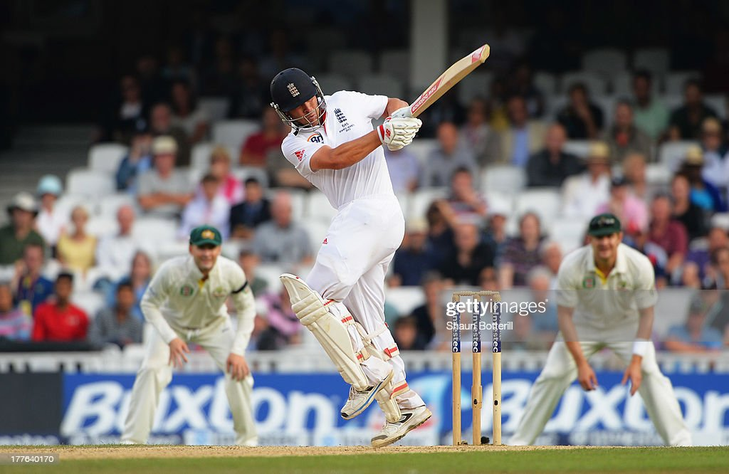 Jonathan Trott of England hits out during day five of the 5th Investec Ashes Test match between England and Australia at the Kia Oval on August 25, 2013 in London, England.
