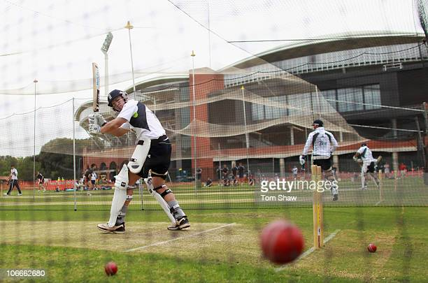 Jonathan Trott of England hits out during the England nets session at Adelaide Oval on November 10 2010 in Adelaide Australia