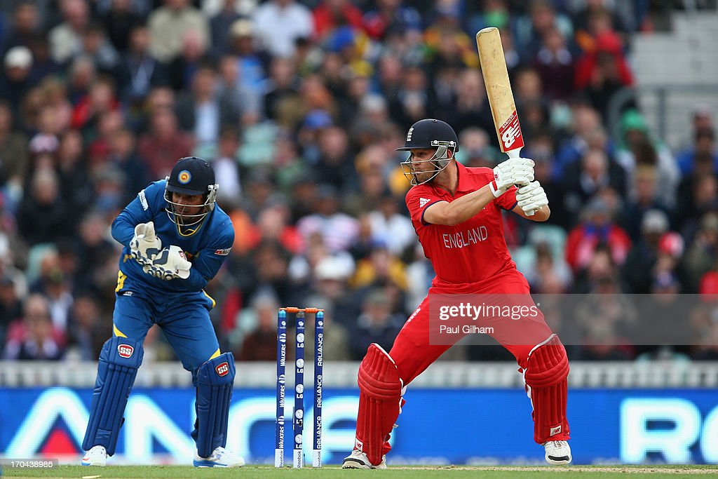 Jonathan Trott of England hits out during the ICC Champions Trophy Group A match between England and Sri Lanka at The Kia Oval on June 13, 2013 in London, England.
