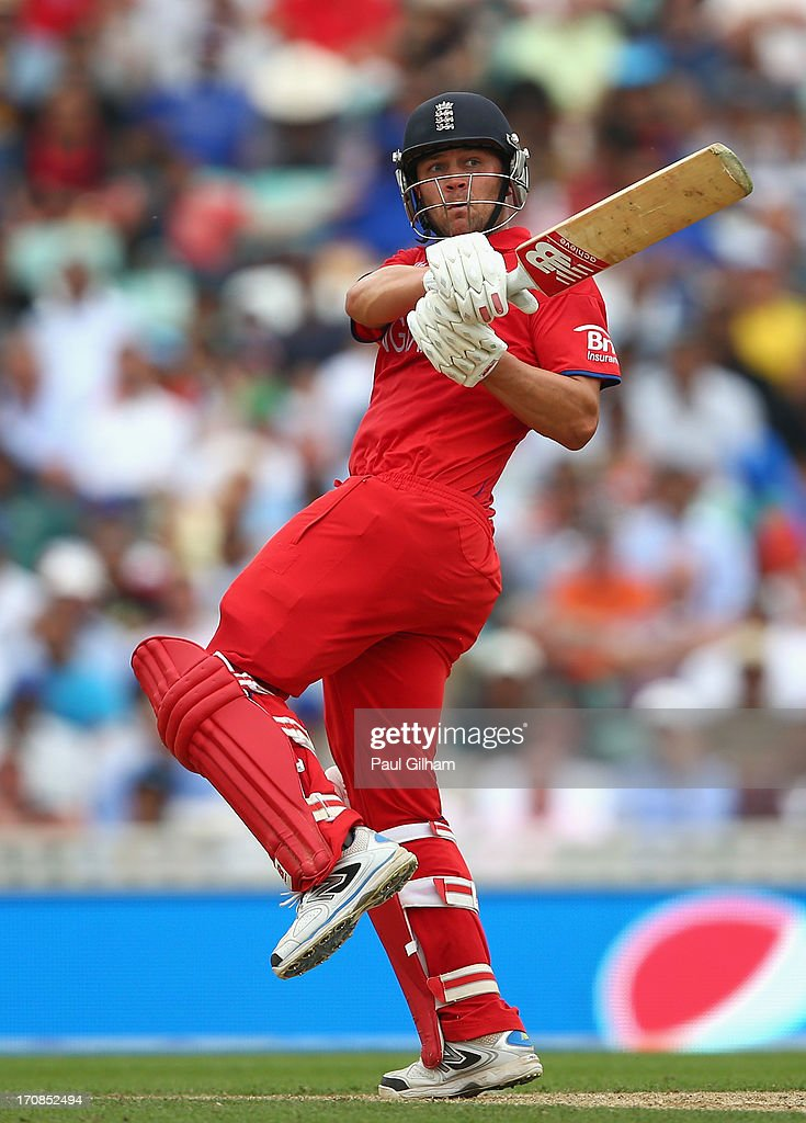 <a gi-track='captionPersonalityLinkClicked' href=/galleries/search?phrase=Jonathan+Trott&family=editorial&specificpeople=654505 ng-click='$event.stopPropagation()'>Jonathan Trott</a> of England hits out during the ICC Champions Trophy Semi-Final match between England and South Africa at The Kia Oval on June 19, 2013 in London, England.