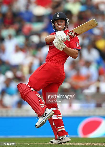 Jonathan Trott of England hits out during the ICC Champions Trophy SemiFinal match between England and South Africa at The Kia Oval on June 19 2013...