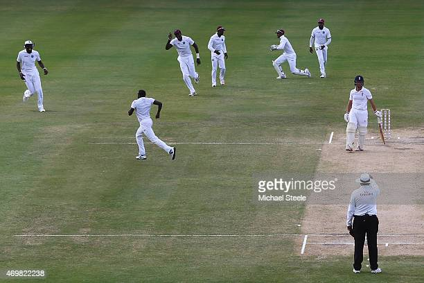 Jonathan Trott of England is caught by wicketkeeper Denesh Ramdin for 4 runs off the bowling of Jerome Taylor of West Indies during day three of the...