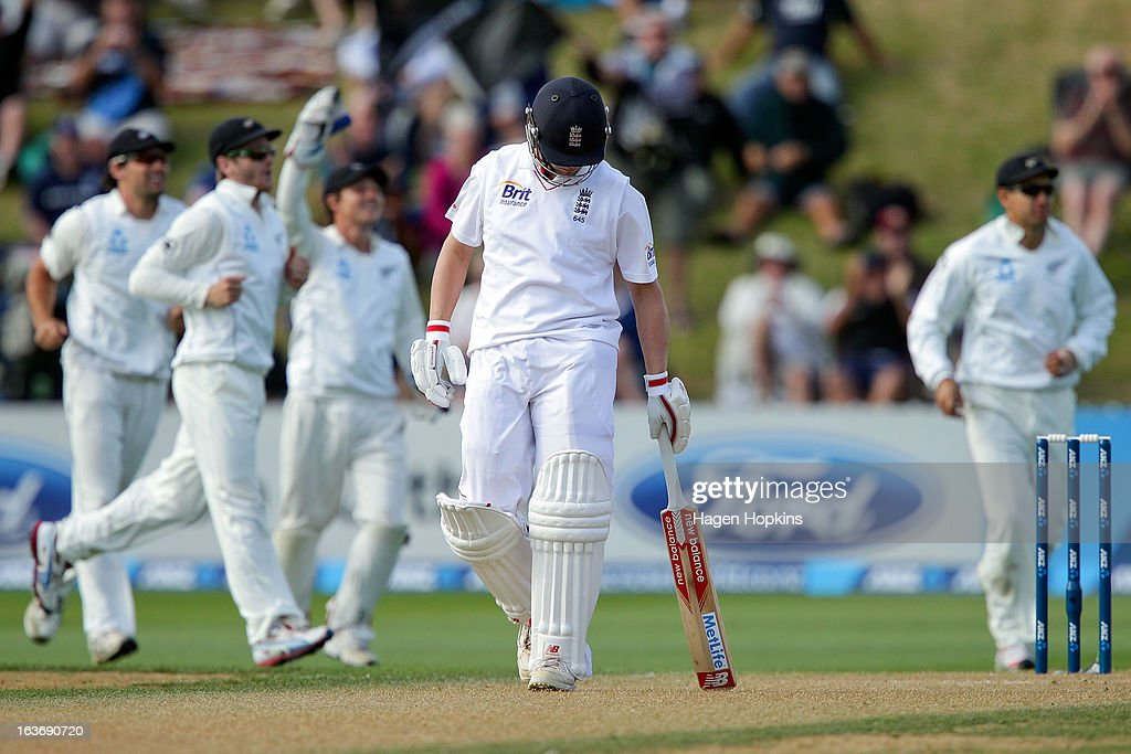 <a gi-track='captionPersonalityLinkClicked' href=/galleries/search?phrase=Jonathan+Trott&family=editorial&specificpeople=654505 ng-click='$event.stopPropagation()'>Jonathan Trott</a> of England leaves the crease after being dismissed by Trent Boult of New Zealand for 121 runs during day two of the second Test match between New Zealand and England at Basin Reserve on March 15, 2013 in Wellington, New Zealand.