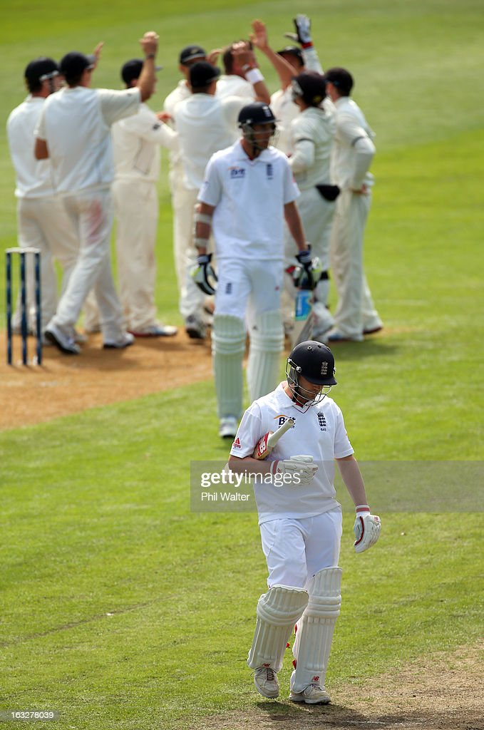 Jonathan Trott of England leaves the field after being caught out by Trent Boult of New Zealand during day two of the First Test match between New Zealand and England at University Oval on March 7, 2013 in Dunedin, New Zealand.