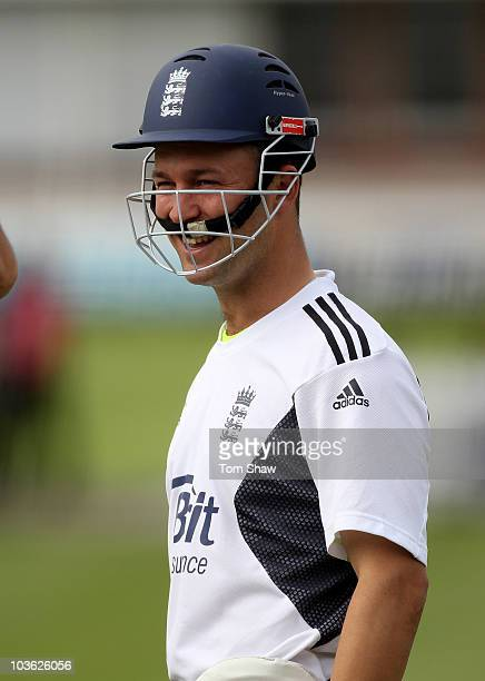 Jonathan Trott of England looks on during the England nets session at Lords on August 25 2010 in London England