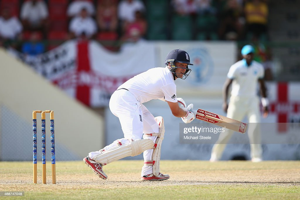 <a gi-track='captionPersonalityLinkClicked' href=/galleries/search?phrase=Jonathan+Trott&family=editorial&specificpeople=654505 ng-click='$event.stopPropagation()'>Jonathan Trott</a> of England plays to the offside to reach his fifty during the St Kitts and Nevis Invitational XI versus England tour match on April 6, 2015 in Basseterre, St Kitts, Saint Kitts and Nevis.