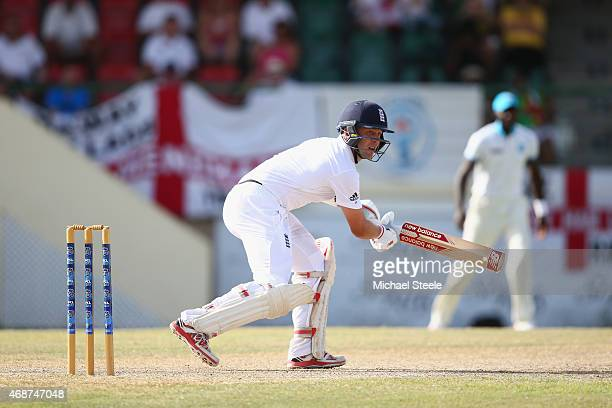 Jonathan Trott of England plays to the offside to reach his fifty during the St Kitts and Nevis Invitational XI versus England tour match on April 6...