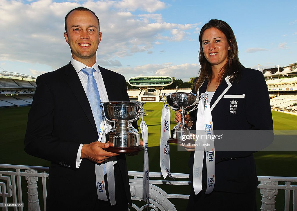 Jonathan Trott of England poses after winning 'Mens Cricketer of the year' and Lydia Greenway of England poses after winning the 'Womens Cricketer of the Year Award' during the ECB Cricketer of the Year Dinner at Lord's Cricket Ground on May 31, 2011 in London, England.