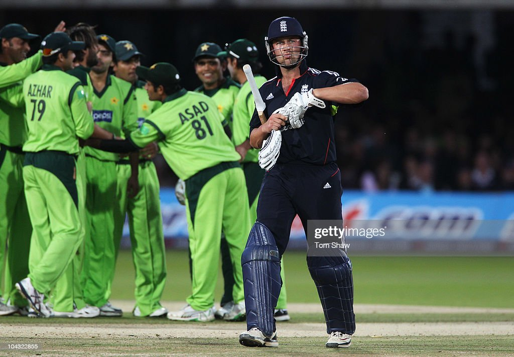 Jonathan Trott of England walks off after being dismissed by Shahid Afridi of Pakistan during the 4th NatWest One Day International between England and Pakistan at Lord's on September 20, 2010 in London, England.