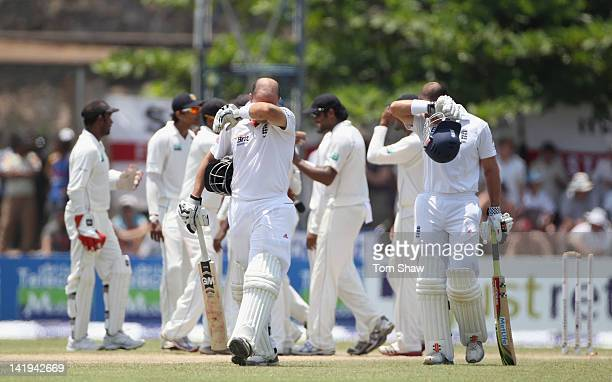 Jonathan Trott of England walks off after his dismissal after being stumped during day 2 of the 1st test match between Sri Lanka and England at Galle...