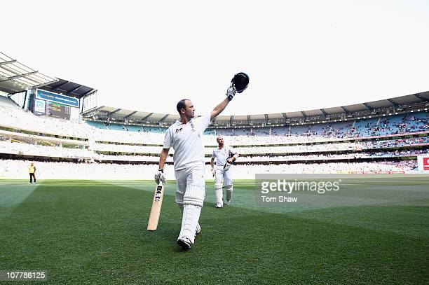 Jonathan Trott of England walks off at the end of play after making a century during day two of the Fourth Test match between Australia and England...