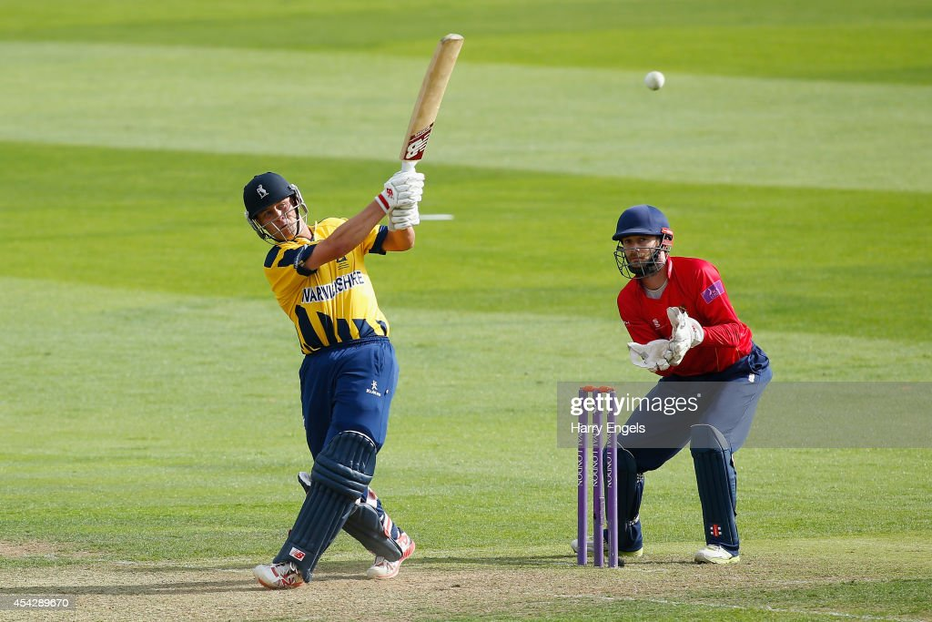 Jonathan Trott of Warwickshire hits out watched by Essex wicketkeeper James Foster during the Royal London OneDay Cup Quarter Final match between...