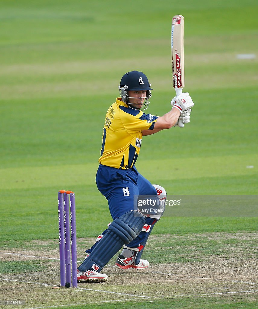 Jonathan Trott of Warwickshire picks up some runs during the Royal London OneDay Cup Quarter Final match between Essex Eagles and Warwickshire at the...