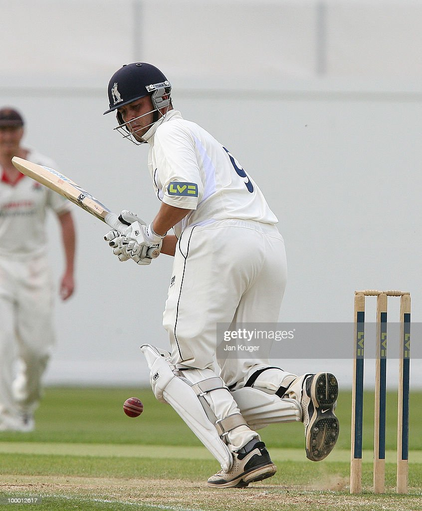 Jonathan Trott of Warwickshire plays off his pads during the LV= County Championship Division One match between Warwickshire and Lancashire at Edgbaston on May 20, 2010 in Birmingham, England.