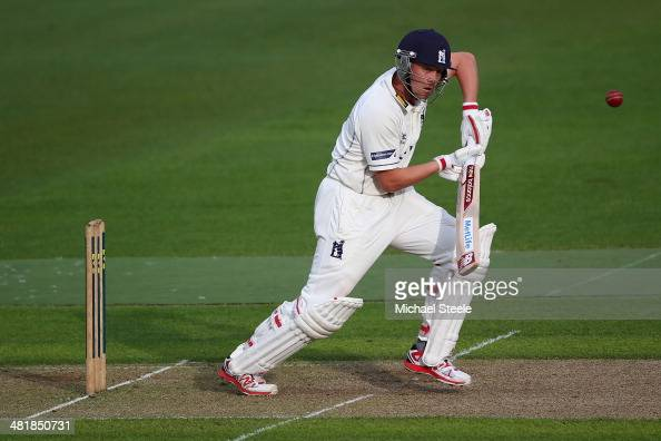 Jonathan Trott of Warwickshire plays to the offside during his first senior appearance since the tour of Australia during the friendly match between...