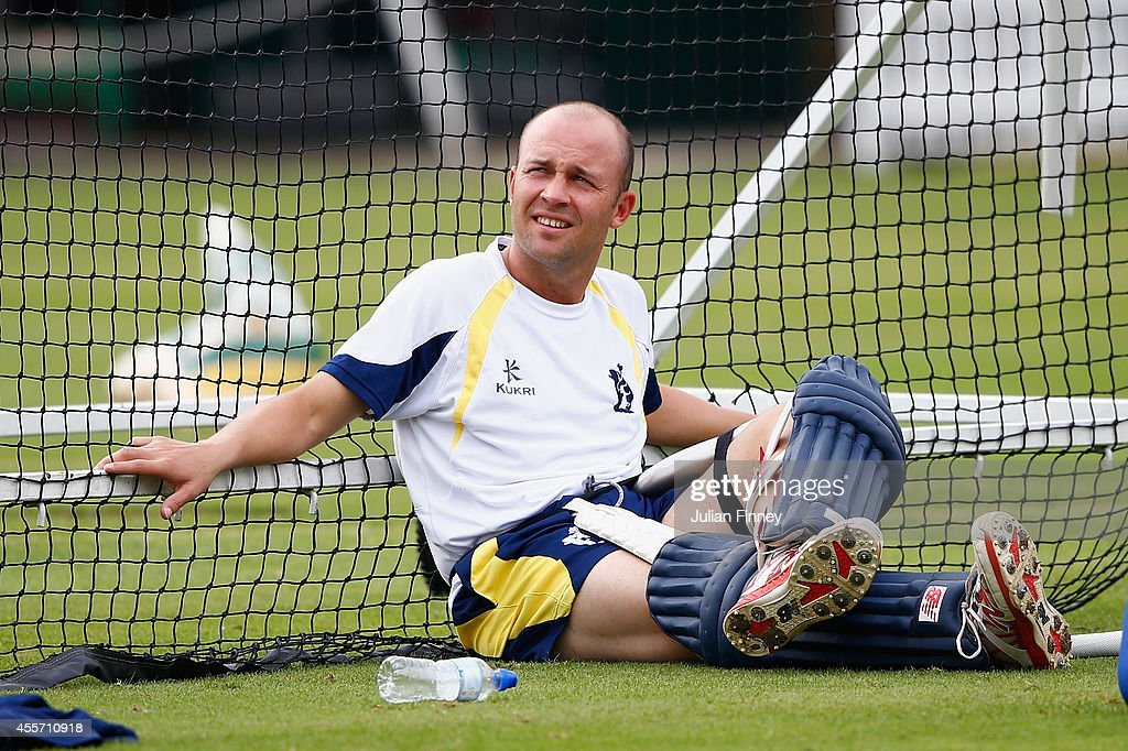Jonathan Trott of Warwickshire relaxes after some batting practice in the nets during previews for the Royal London OneDay Cup 2014 Final at Lord's...