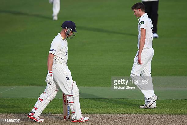 Jonathan Trott of Warwickshire walks after being dismissed lbw off the bowling of David Payne of Gloucestershire on his first senior appearance since...