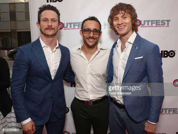 Jonathan Tucker Omid Abtahi and Bruce Langley attend the 2017 Outfest Los Angeles LGBT Film Festival Opening Night Gala at Orpheum Theatre on July 6...