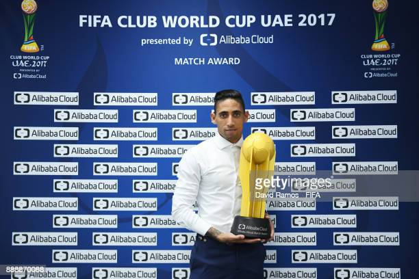 Jonathan Urretavizcaya of Pachuca poses with the man of the match award after the FIFA Club World Cup match between CF Pachuca and Wydad Casablanca...