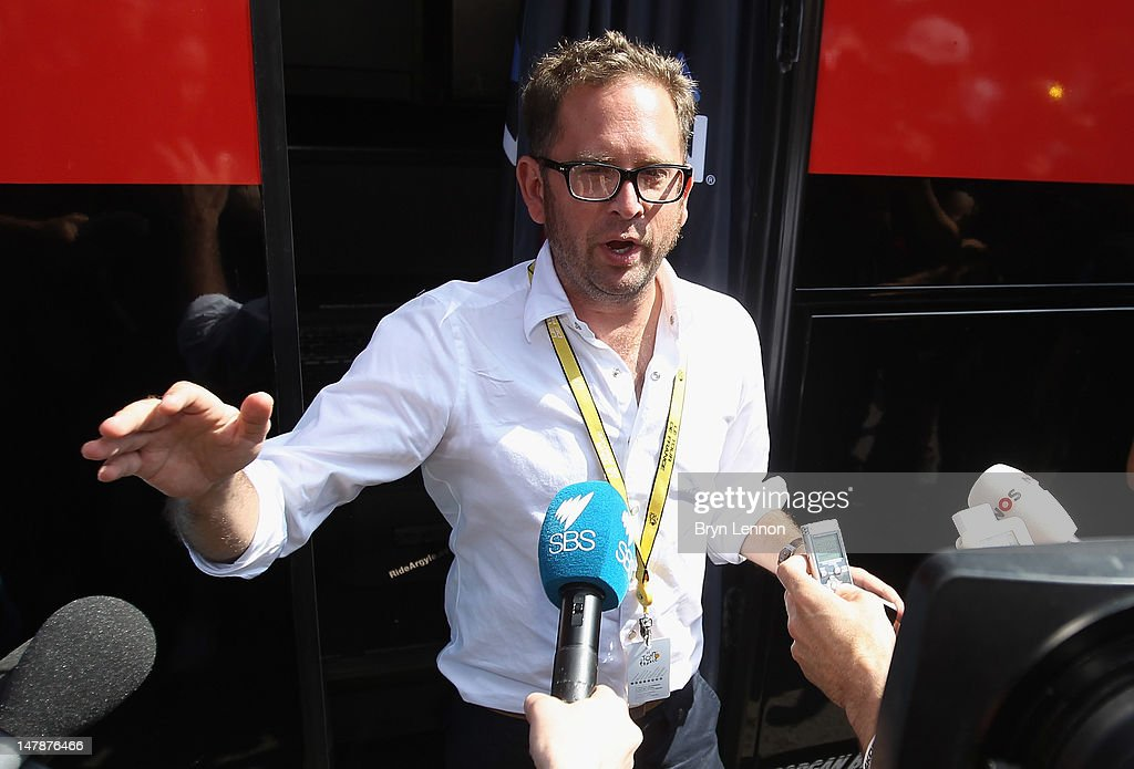 Jonathan Vaughters, CEO of Slipstream Sports and director of Garmin-Sharp, gives a statement to the media prior to the start of stage five of the 2012 Tour de France from Rouen to Saint-Quentin on July 5, 2012 in Rouen, France. It is reported that Vaughters and four others have agreed to give evidence to the US Anti Doping Agency in the latest investigation of Lance Armstrong.