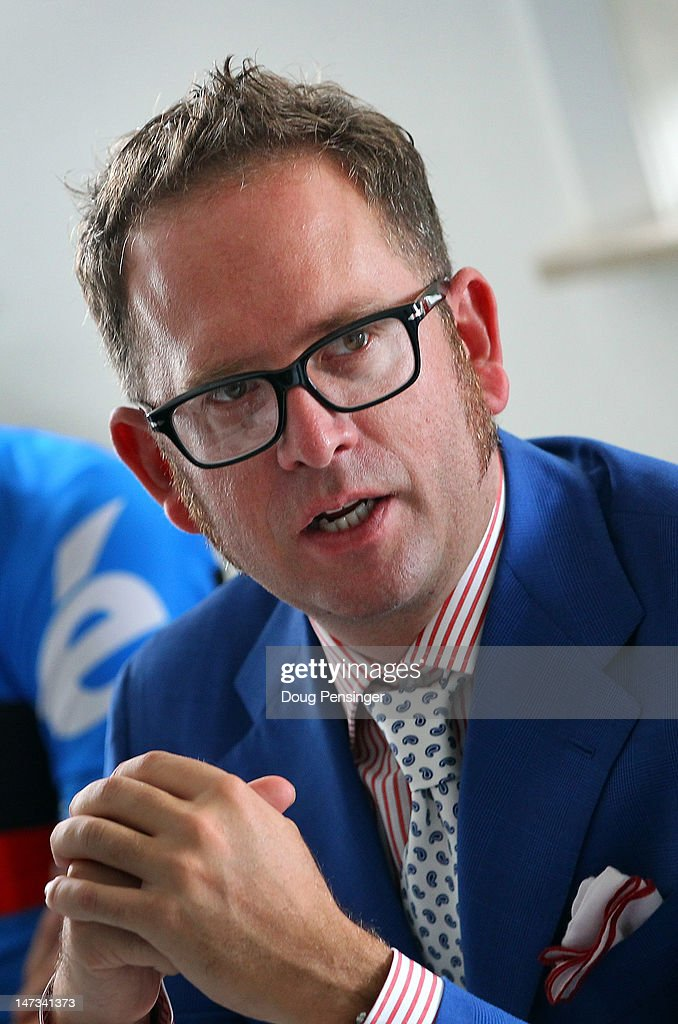 Jonathan Vaughters, CEO of Slipstream Sports announces the addition of Sharp Technologies as a co-title sponsor for Team Garmin-Sharp at a press conference as they prepare for the Tour de France on June 28, 2012 in Lanaken, Belgium.