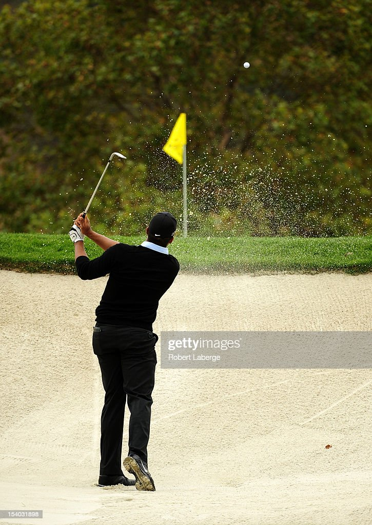 Jonathan Vegas of Venezuela makes a shot out of a bunker on the third hole during round two of the Frys.com Open at the CordeValle Golf Club on October 12, 2012 in San Martin, California.