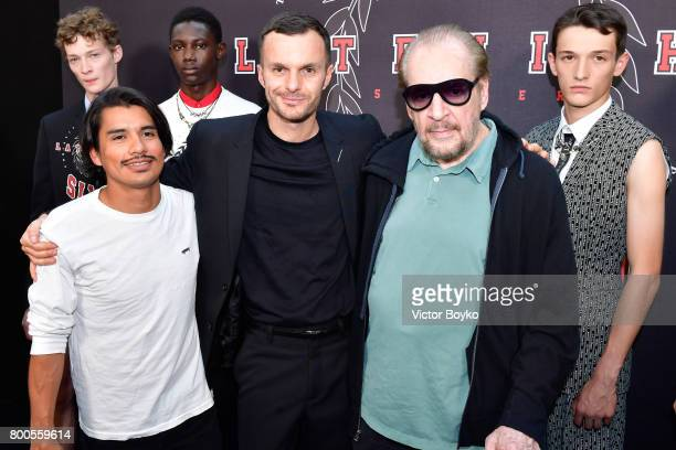 Jonathan Velasquez Kris Van Assche and Larry Clark attend the Dior Homme Menswear Spring/Summer 2018 show as part of Paris Fashion Week on June 24...