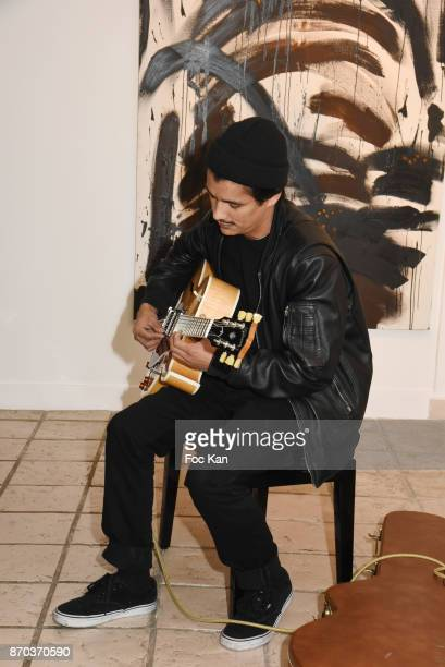 Jonathan Velasquez performs during the Concert at Galerie Rue Hus as part of Larry Clark Photos Paintings Exhibition And Selling Preview at Galerie...