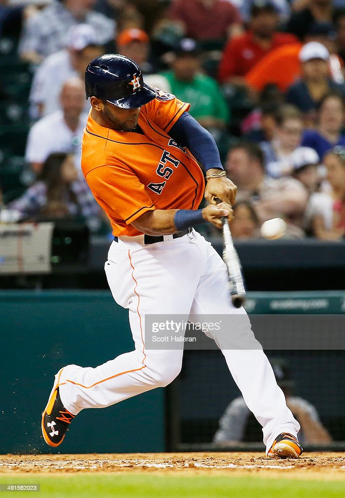 <a gi-track='captionPersonalityLinkClicked' href=/galleries/search?phrase=Jonathan+Villar&family=editorial&specificpeople=8981472 ng-click='$event.stopPropagation()'>Jonathan Villar</a> #6 of the Houston Astros hits a single in the fifth inning of their game against the Chicago White Sox at Minute Maid Park on May 16, 2014 in Houston, Texas.