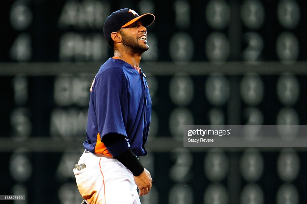 Jonathan Villar #6 of the Houston Astros reacts to a play in the eighth inning during a game against the Toronto Blue Jays at Minute Maid Park on August 25, 2013 in Houston, Texas. Toronto won the game 2-1.