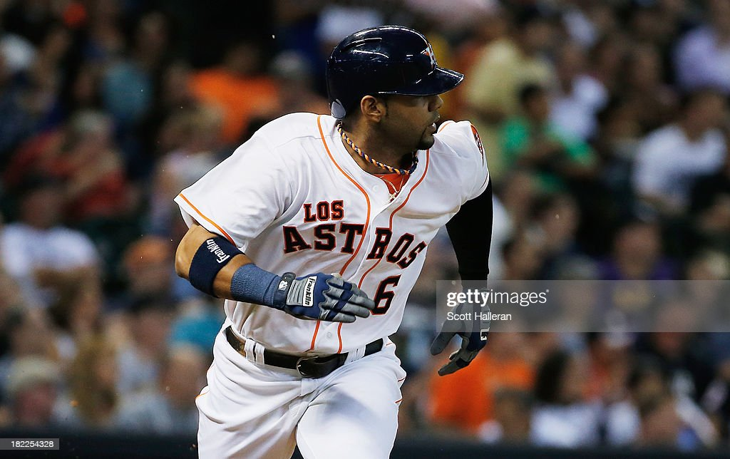 Jonathan Villar #6 of the Houston Astros runs to first base during the game against the New York Yankees at Minute Maid Park on September 28, 2013 in Houston, Texas.