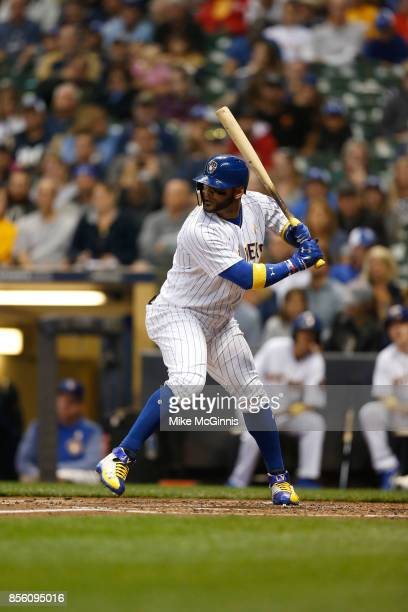Jonathan Villar of the Milwaukee Brewers gets ready for the next pitch during the game against the Washington Nationals at Miller Park on September 1...