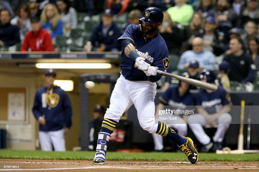Jonathan Villar #5 of the Milwaukee Brewers hits a single in the first inning against the St. Louis Cardinals at Miller Park on April 20, 2017 in Milwaukee, Wisconsin.