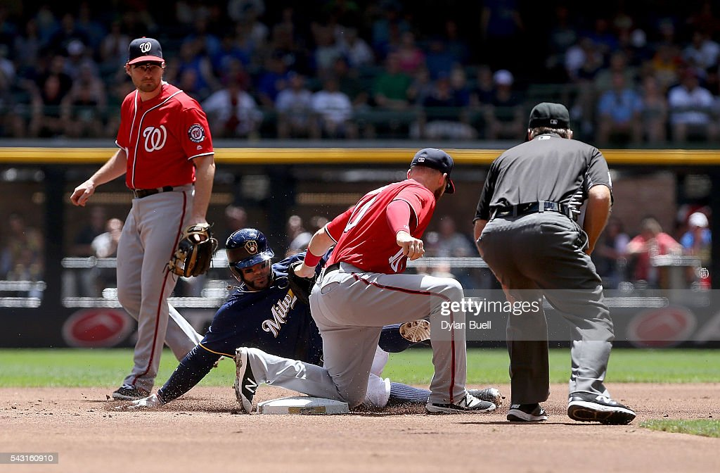 Jonathan Villar #5 of the Milwaukee Brewers is tagged out by Stephen Drew #10 of the Washington Nationals during a steal attempt in the first inning at Miller Park on June 26, 2016 in Milwaukee, Wisconsin.