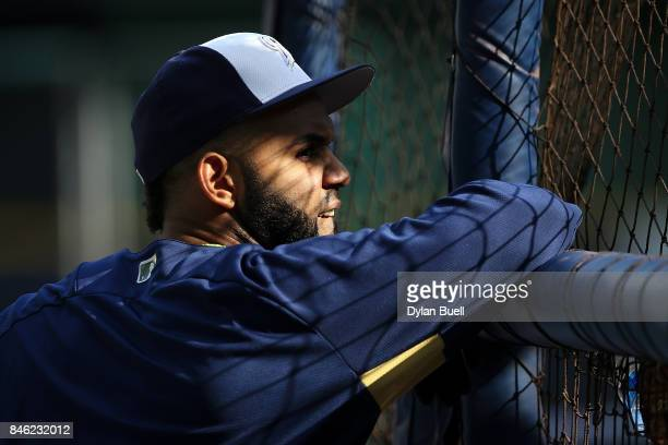Jonathan Villar of the Milwaukee Brewers looks on during batting practice before the game against the Pittsburgh Pirates at Miller Park on September...